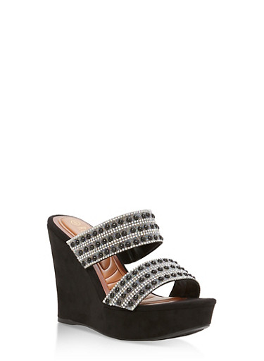 Faux Suede Jeweled Strap Wedge Sandals at Rainbow Shops in Jacksonville, FL | Tuggl