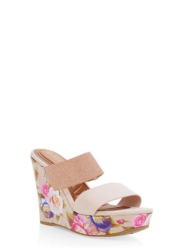 Foil Floral Double Strap Wedges Sandals,BLUSH F/S,large