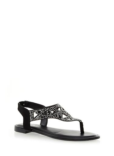Sparkle And Rhinestone Aztec Lasercut T-Strap Sandals,BLACK,large