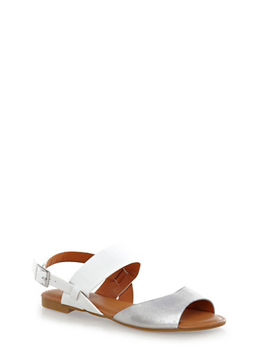 Faux Leather Double Strap Buckle Slingback Sandals With Woven Details,SILVER,large