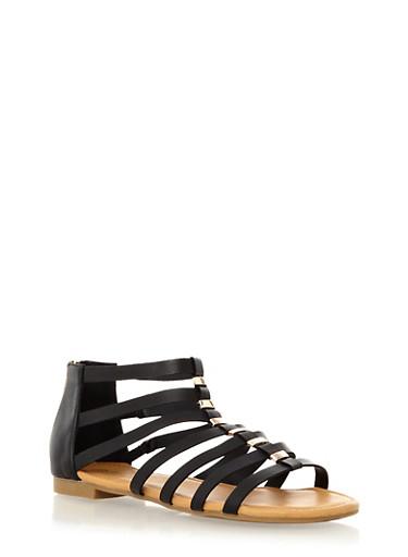 Strappy Open Toe Flat With Metallic Bar Embellishments,BLACK,large