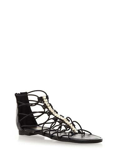 Strappy Metallic Hardware Ankle Gladiator Sandals,BLACK,large
