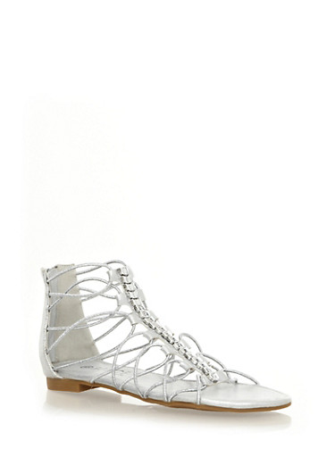 Strappy Metallic Hardware Ankle Gladiator Sandals,SILVER,large