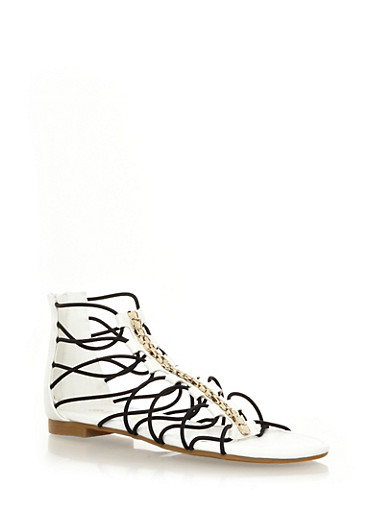 Strappy Metallic Hardware Ankle Gladiator Sandals,WHITE,large