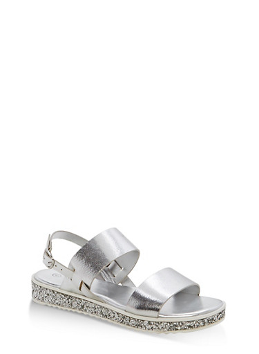 Double Strap Platform Sandals,SILVER MPU,large