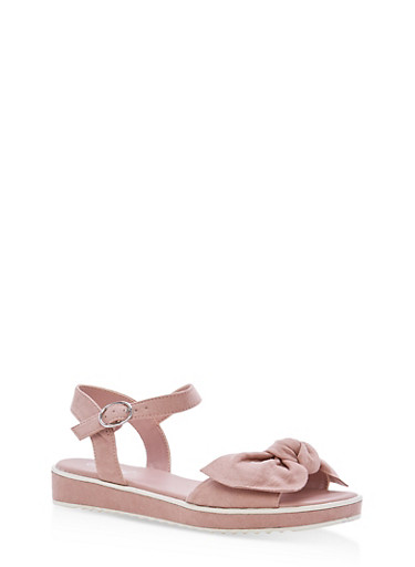 Bow Strap Low Platform Sandals,DARK BLUSH F/S,large