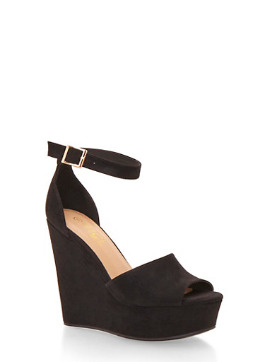 Platform Wedges with Chunky Ankle Straps,BLACK SUEDE,large