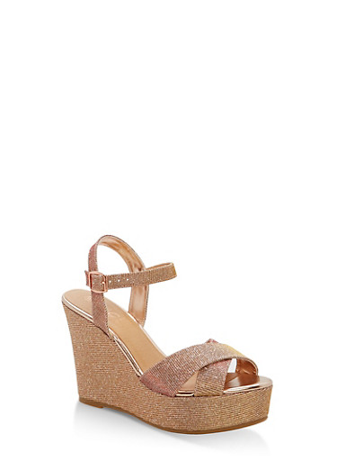 Glitter Wedge Sandals,ROSE GOLD GLITTER,large