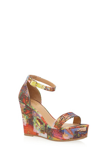 Platform Wedges with Buckle Ankle Strap,ORANGE MULTI,large