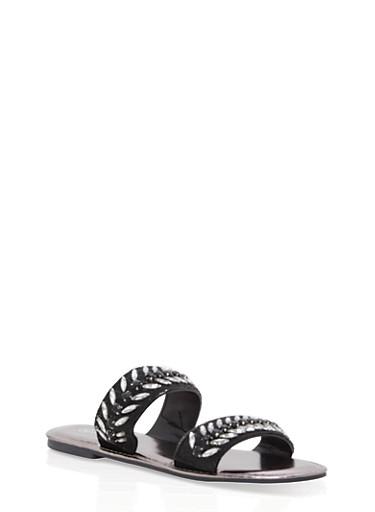Double Band Jeweled Slide Sandals,BLACK NUBUCK,large