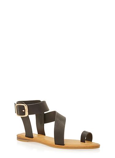 Flat Toe Ring Crossover Sandals,BLACK BURNISH,large