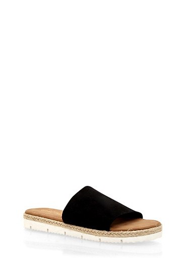 Slides with Rope Sole Detail,BLACK F/S,large