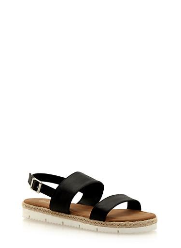 Flat Espadrille Sandals with Adjustable Ankle Buckle,BLACK,large