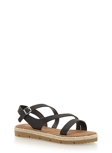 Strappy Sandals with Raffia Trim,BLACK,large