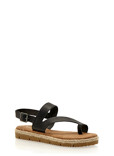 Asymmetrical Flat Sandals with Toe Ring,BLACK,large
