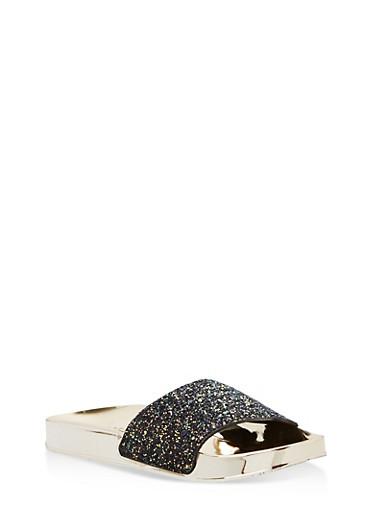 Glitter Metallic Slides,BLACK GLITTER,large