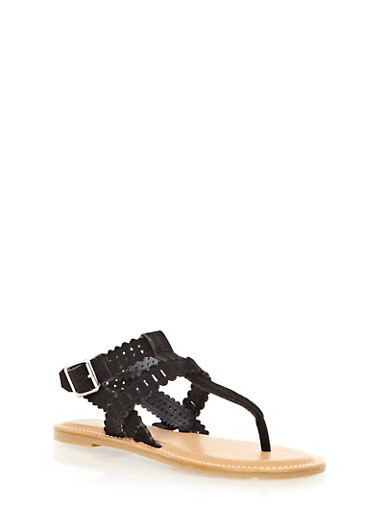Geo Lasercut Double T-Strap Sandals With Buckle,BLACK,large