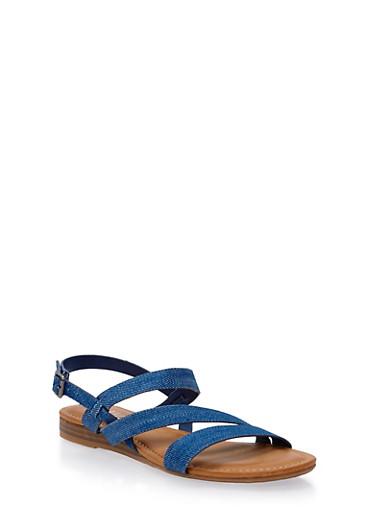 Asymmetrical Strap Sandals,BLUE DENIM,large