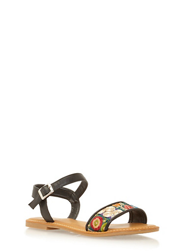 Ankle Strap Flat Sandals with Sequin Flowers,BLACK BURNISH,large