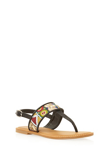 Embroidered Strap Thong Sandals,BLACK BURNISH,large