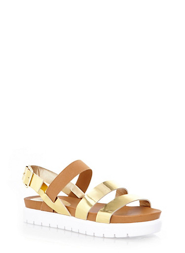 Strappy Slingback Footbed Sandals,GOLD,large