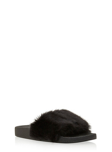 Slide Sandals with Faux Fur Strap,BLACK,large
