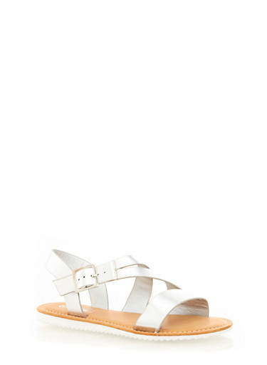 Faux Leather Open Toe Sandals,SILVER,large