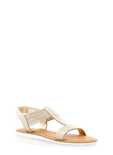 Corded Slingback Sandals with Lug Soles,GOLD,large