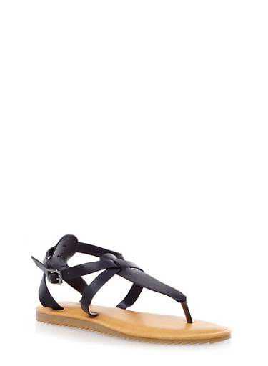 Strappy Thong Sandals with Buckle Closure,BLACK,large