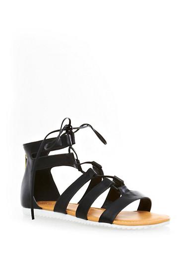 Strappy Lace-Up Back Zipper Ankle Gladiator Sandals,BLACK,large