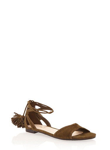 Lace Up Sandals with Pom Poms,OLIVE,large