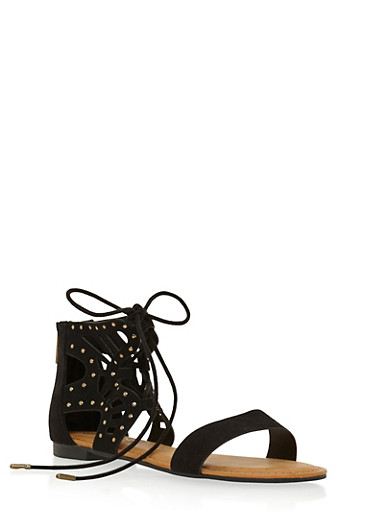 Lace-Up Sandals with Studded Lasercut Ankle,BLACK,large