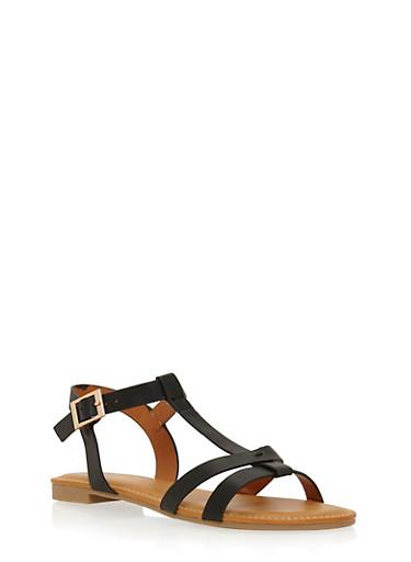 Flat T Strap Sandals,BLACK,large