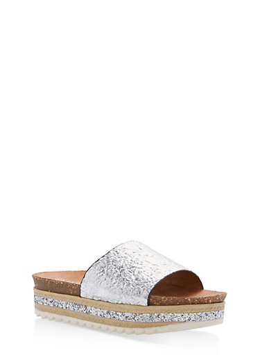 Single Strap Glitter Wedge Sandals,SILVER PU,large