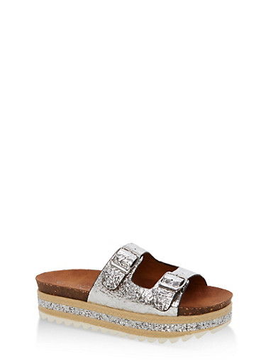 Metallic Faux Leather Platform Sandals with Glitter Footbed,SILVER PU,large