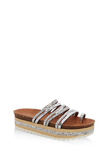 Braided Glitter Strappy Platform Sandals,SILVER MULTI,large