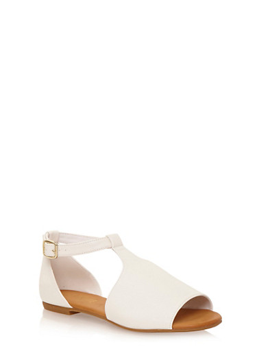 Flat Mule Sandals with Adjustable Ankle Strap,WHITE,large