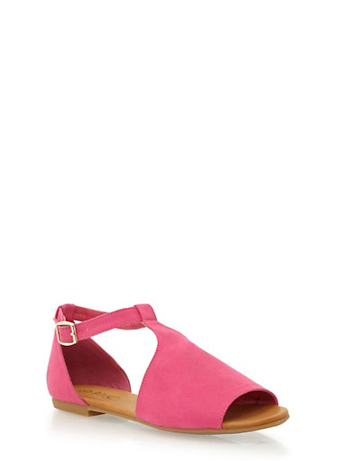 Flat Mule Sandals with Adjustable Ankle Strap,FUCHSIA F/S,large