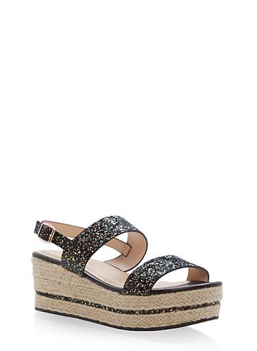 Espadrille Platform Sandals with Glitter Straps,BLACK GLITTER,large