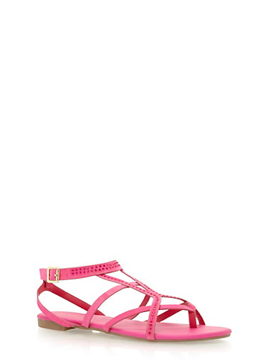 Studded Strappy Sandals,FUCHSIA F/S,large