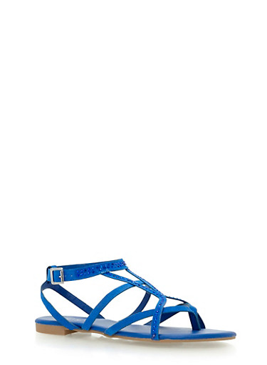 Studded Strappy Sandals,BLUE F/S,large
