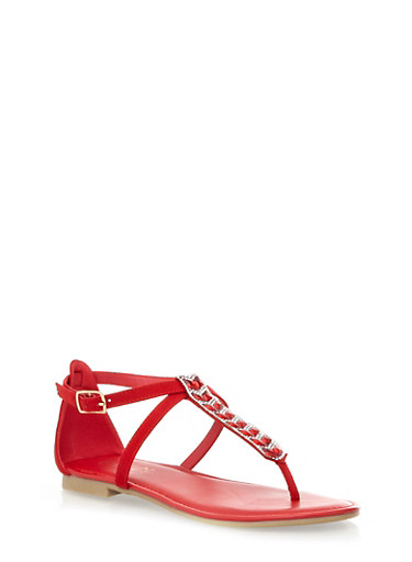 Closed Back Thong Sandals with Decorative Rhinestones and Faux Jewels,RED,large
