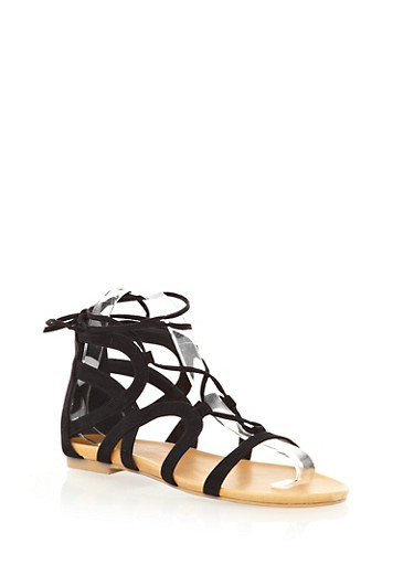Shimmery Metallic Short Lace-Up Gladiator Sandals With Ankle Tie,BLACK,large