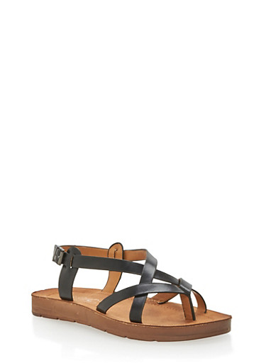 Faux Leather Strappy Thong Sandals,BLACK PU,large