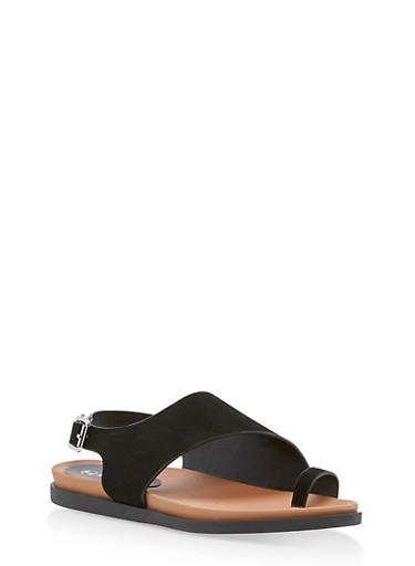 Toe Ring Slingback Sandals,BLACK NUBUCK,large