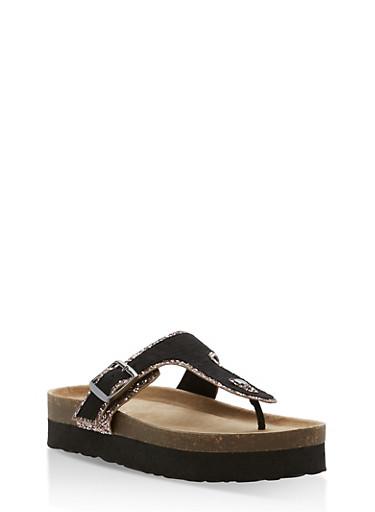 Glitter Trim Platform Thong Sandals,BLACK BLUSH,large