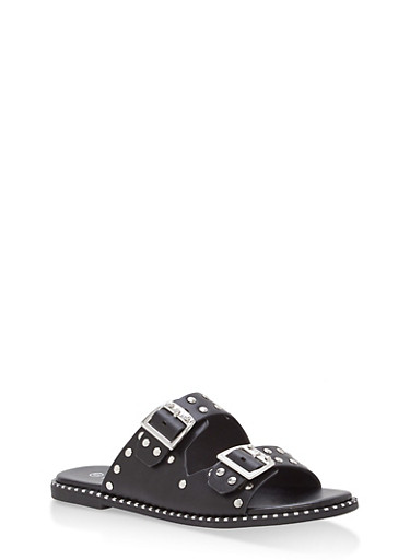Studded Double Strap Sandals,BLACK CRP,large