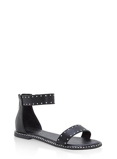 Studded Ankle Strap Sandals,BLACK BNH,large