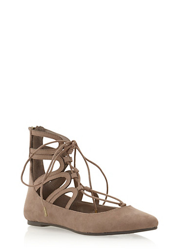 Round Toe Flats with Lace Up Front,TAUPE,large