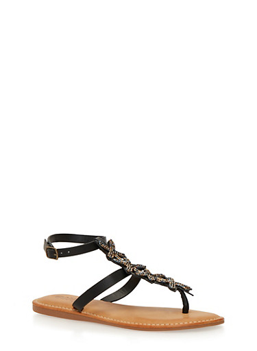 Beaded T Strap Thong Sandals,BLACK BURNISH,large